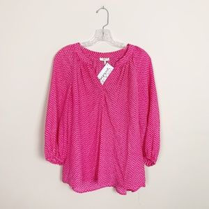 Joie | silk printed 3/4 sleeve blouse pink medium